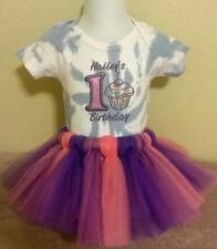 Personalized Holiday Pink Girls  First Birthday Short Sleeve One Piece Tutu Set