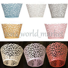 New 12pcs Vine Filigree Cake Cupcake Wrappers Wraps Cases Wedding Baby Shower #T