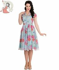 HELL BUNNY 50's BLOOMSBURY chiffon SUMMER floral dot DRESS