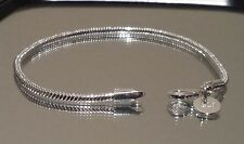 "925 Sterling Silver Trendy Snake Chain Bracelet 3mm 8"" fit European Beads"