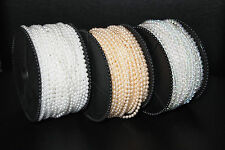 3mm/4mm/6mm Faux Pearl Beads on a String White, Ivory, or Clear Iridescent