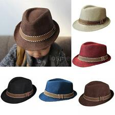 Boys Girls Fedora Homburg Hat Jazz Trilby Derby Short Brim Panama Cap Unisex