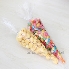 "Cellophane Party Bags Clear cone sweet Cake Bags With 4"" Silver Twist Ties #T"