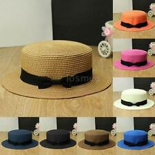 Women Derby Straw Hat Summer Beach Girls Boater Gangster Bow Sailor Cap Pretty