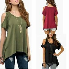 Fashion Sexy Open Cold Shoulder Long Cut Out Blouse Tunic Short Sleeve Top Shirt