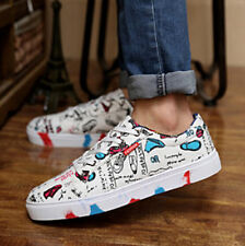 Womens Girls Mens Graffiti White Low High Top Skateboarding Boot Sneaker Canvas