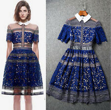 New fashion runway Sexy lace Blue floral Embroidery Ball Gown Cocktail Dress
