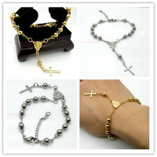 Nice Fashion Men Womens Bracelet Stainless Steel Silver Gold Rosary Beads Chains