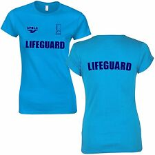 LADIES BONDI LIFEGUARD RESCUE FITTED BLUE T-SHIRT + BACK PRINTED WOMENS TOP