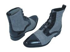 Men's Dress Casual Boots GIOVANNI 6485 Black & Black/White Leather & Tweed Shoes