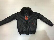 NWT VINTAGE DOUBLE F.A.T. GOOSE V-BOMBER JACKET FROM 80'S BLACK FOX COLLAR