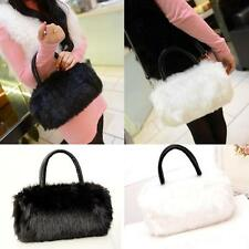 Women Tote Faux Leather Soft Fur Handbag Mini Shoulder Bag Brief Satchel Purse