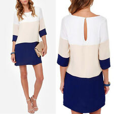 Womens Fashion Clothes Evening Party Short Sleeve Work Casual Chiffon Dress