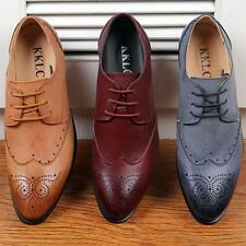 Mens oxford Brogue pointy toe wing tip casual dress formal party office shoe new