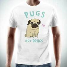 PUGS NOT DRUGS Mens T-Shirt Tee Funny Dog Lovers Puppy NEW