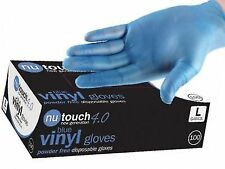 4 Boxes of 100 (400) Food Safe BLUE VINYL Powder & Latex Free Disposable Gloves