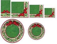 C.R Gibson Christmas Kitchen Dining Party Paper Napkins or Plates Cheerful Holly