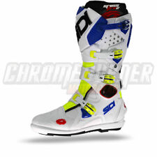 SIDI Crossfire 2 SRS Motorcycle Boots Yellow Fluo White Blue, NEW!