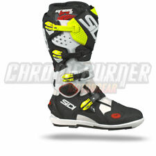 SIDI Crossfire 2 SRS Motorcycle Boots White Black Fluo Yellow, NEW!