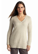 Eileen Fisher Tangled Linen Cotton Deep V Neck Sweater, Natural, XS, XL, NWT