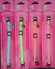 CAT COLLARS GLITTER REFLECTIVE BREAK-AWAY BUCKLE ADJUSTABLE BELL, SELECT: Color