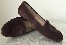NEW UGG Australia suede leather sheep skin brown flat women shoes size 6.5