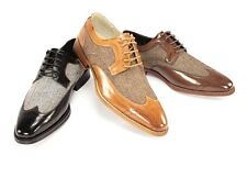 Men's Dress Shoes GIOVANNI 6484 Black, Tan, Brown Wing Tip Lace up Leather Tweed