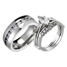 His & Hers Sterling Silver Titanium Marquise Cut Cubic Zirconia Wedding Ring Set