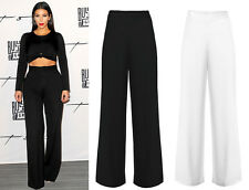 New Ladies Wide Leg Womens Palazzo Long High Mid Waist Trousers Flared Pants