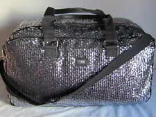 Large NEW VICTORIA SECRET PINK TRAVEL Bling SEQUIN CARRY ON WEEKENDER DUFFLE BAG