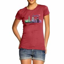 Twisted Envy Women's Love London Cityscape 100% Organic Cotton T-Shirt