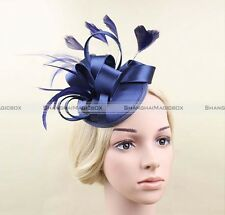 Champagne/Blue/Grey Fascinator Hatinator Ribbons Feathers on clip Wedding Races