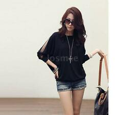 Fashion Women's Ladies Blouse T-shirt Cotton Batwing Lace Sleeve Black/White LS