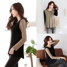 NEW Fashion Women T-shirt Contrast Crew Neck Long Sleeve Casual Blouse Tops M L