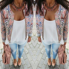 Women Casual Slim Floral Top Zip Blouse Outwear Parka Trench Coat Jacket