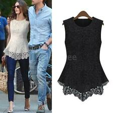 Vogue Women Floral Lace Blouse Sleeveless Crochet Peplum Tank Tops Slim Shirt LS