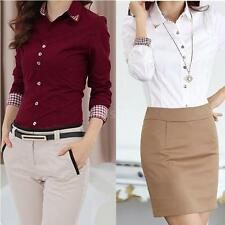 Women OL Shirt Long Sleeve Turn-down Collar Button Blouse Tops White/Burgundy LS