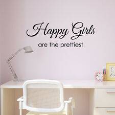 Happy Girls Are The Prettiest Wall Sticker - Inspirational Quote - Wall Art