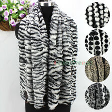 nEW Fashion Sexy Leopard/Zebra/Heart Faux Fur Button Scarf Wrap Shawl Cape Stole