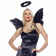 Good Evel Naughty Nice Angel Wings Halo Halloween Costume Accessory Set Feather