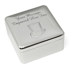 Personalised Engraved Square Silver Plated Wedding Trinket Box Message & Logo