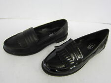 LADIES SPOT ON BLACK SLIP ON LOAFER STYLE SHOES (2 MATERIALS) STYLE: F80121