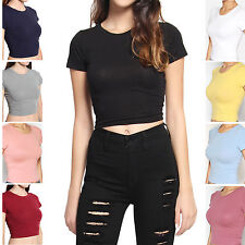 TheMogan Basic Short Sleeve Round Neck Crop Top Simple Solid Cropped Tee T-shirt