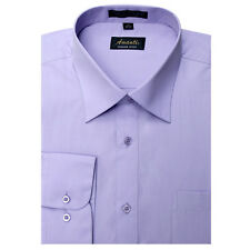Mens Dress Shirt Plain Lavender Modern Fit Wrinkle-Free Cotton Blend Amanti