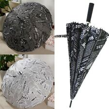 Stylish Straight Shank New Umbrella England Windproof Newspaper Print Umbrella