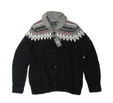 Armani Exchange A|X Mens Shawl Collar Wool Leather Heavy Knit Cardigan Sweater