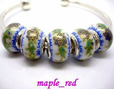 Fashion Disign Flower Porcelain SilverCore Bead Fit European Charm Bracelet
