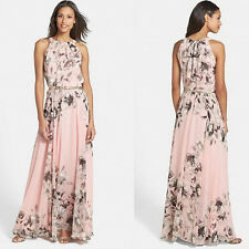 Sexy Women Beach Floral Printed Crew Neck Summer Holiday Long Maxi Party Dress