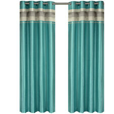 Single Milan Blue Grommet Blackout Multilayer Lined Window Curtain Panel