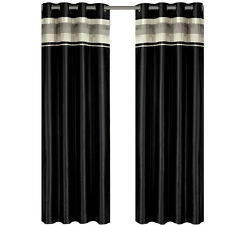 Milan Black Grommet Blackout Multilayer Lined Window Curtain Panel